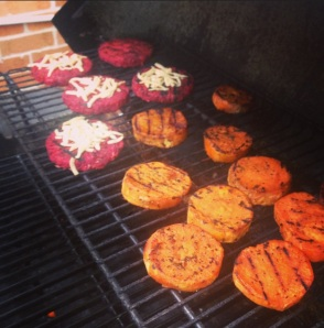 Beet Burgers & Yam Chops on the Grill