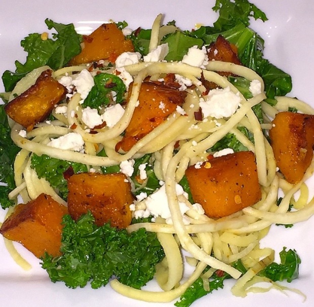 Parsnip Noodles with Roasted Butternut Squash & Kale